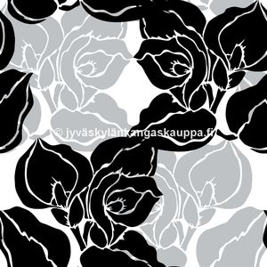 Digiprintti trikoo Black and Grey Flowers