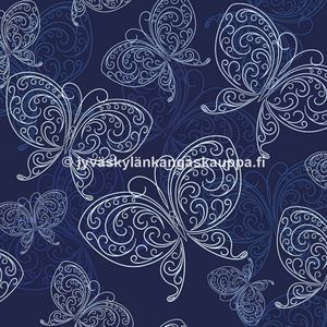Digiprintti trikoo Blue Butterflies