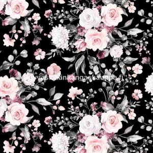 Digital jersey Delicate Flowers Black