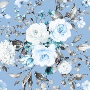 Digiprintti trikoo Delicate Flowers Blue