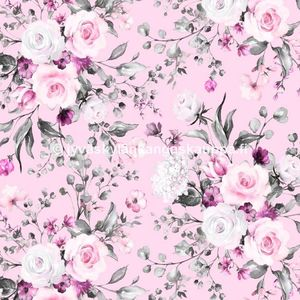 Digital jersey Delicate Flowers Rose