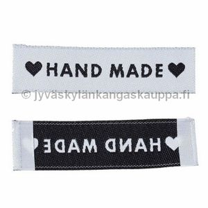 Handmade with, and hearts-print label WHITE black hearts