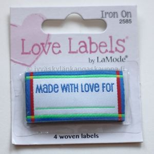 "Iron on label ""Made For With Love"", blue"