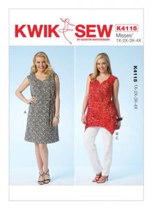 Kwik SEW K4115 Plus size dress, tunic and pants