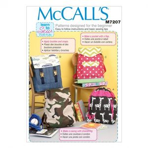McCall's M7202 Draw-string or flap-closure backpacks