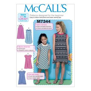 McCall's M7344 Children's/girls' raglan sleeve knit dresses