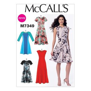 McCall's M7349 Sleeveless or raglan sleeve, fit and flare dresses