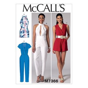 McCall's M7366 Pleated surplice or plunging-neckline rompers and jumsuits