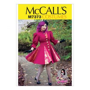 McCall's M7373 Fit and flare or godet coats with stand-up collar