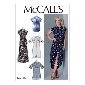 McCall's M7387 Button-down top, tunic, dresses and belt