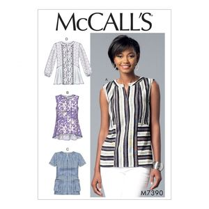McCall's M7390 Split-neck, seam-detail tops