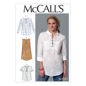 McCall's M7391 Laced-up or split-neck tops and dress