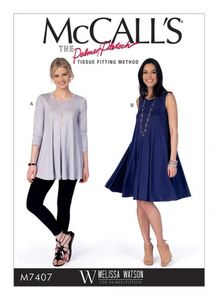 McCall's M7407 Flared knit top and dress