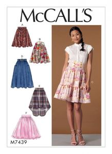 McCall's M7439 Gathered and flared skirts with belt
