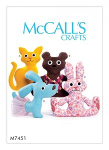 McCall's M7451 Cat, bear, Rabbit and dog stuffed animals