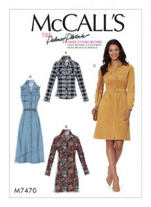 McCall's M7470 Button-down shirt and shirtdress with belt