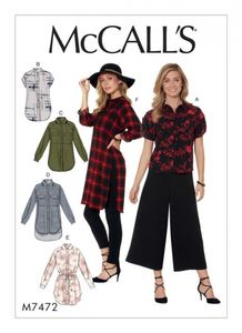 McCall's M7472 Raglan-sleeve, button-down shirts and tunics