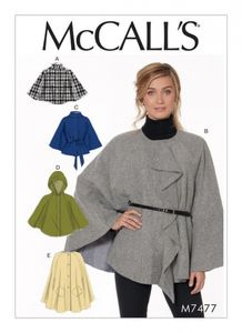 McCall's M7477 Hooded, collared or collarless capes, and belt