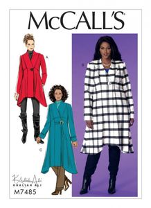 McCall's M7485 Seamed, shaped-hem coats