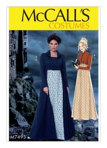 McCall's M7493 Cropped jacket, floor-length coat and A-line, square-neck dress
