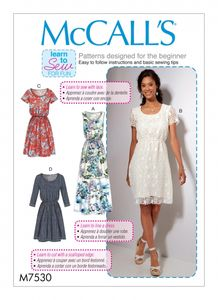 McCall's M7530 Gathered-waist , scoopneck dresses