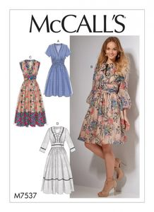 McCall's M7537 Banded, gathered-waist dresses