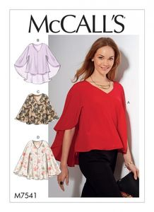 McCall's M7541 V-neck, cape-style tops