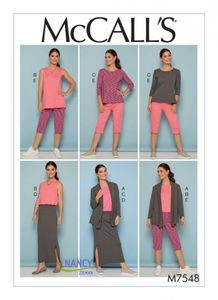 McCall's M7548 Knit shawl collar jacket, tops with slits, and banded skirt and pants