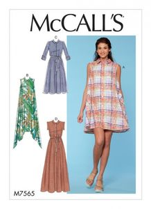 McCall's M7565 Shirtdresses with sleeve options, and belt