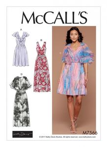 McCall's M7566 V-neck, ruffle, and cape-style dresses