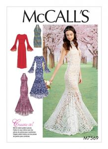 McCall's M7569 Column and trumpet dresses with bodice and sleeve variations