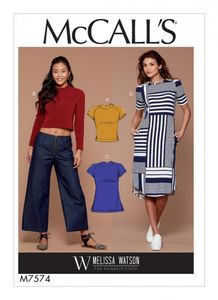 McCall's M7574 Knit, raglan sleeve pullover tops, tunic, and dress