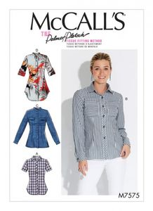 McCall's M7575 Button-down shirts with collar, sleeve and pocket variations
