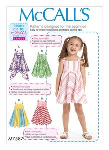 McCall's M7587 Children's/girls dresses with square-neck, and circular skirt variations