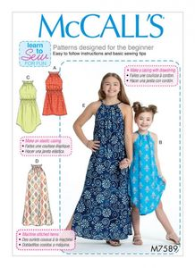 McCall's M7589 Children's/girls gathered neckline sleeveless dresses with elastic waist options