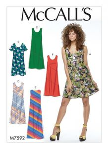 McCall's M7592 Pullover bias-cut tank and short-sleeve dresses