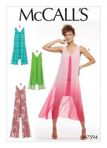 McCall's M7594 Sleeveless v-neck pullover dresses with overlay