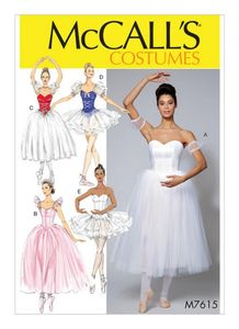 McCall's M7615 Ballet costumes with boned bodice, skirt, and sleeve variations