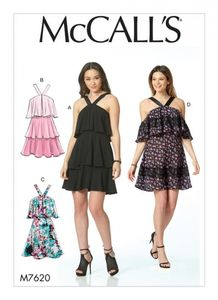 McCall's M7620 Flounced tiered dresses with straps