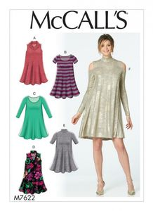 McCall's M7622 Knit swing dresses with neckline and sleeve variations