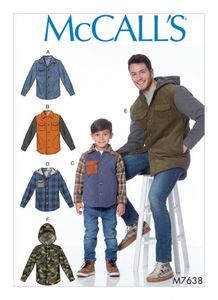 McCall's M7638 Men's and Boys' Lined Button-Front Jackets with Hood Options
