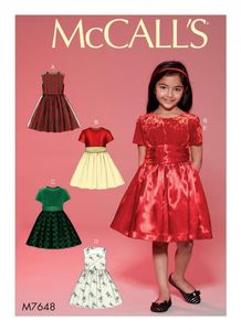 McCall's M7648 Childrens'/Girls' Gathered Dresses with Petticoat and Sash