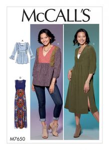 McCall's M7650 V-Neck or Square-Neck Top, Tunic, and Dresses