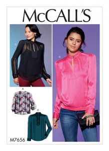 McCall's M7656 Tops with Neck Button, Yoke, Pleats and Sleeve Variations