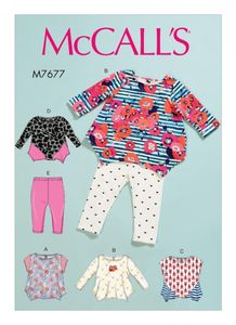 McCall's M7677 Infants' Contrast Tops and Leggings