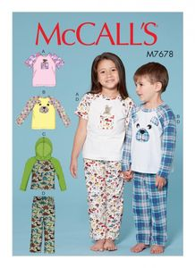 McCall's M7678 Children's/Boys'/Girls' Animal Themed Tops and Pants