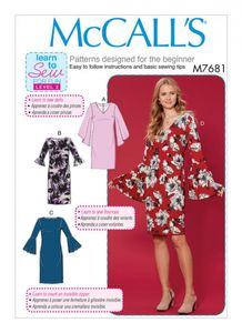 McCall's M7681 Dresses with Flounce Sleeve Variations