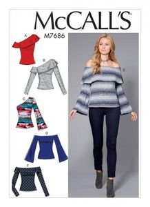 McCall's M7686 Off-The-Shoulder Knit Tops