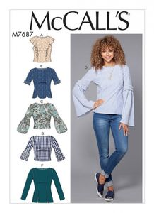 McCall's M7687 Back-Button Tops with Sleeve Options