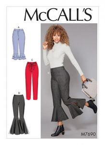 McCall's M7690 Pants With Flounce Variations and Sash